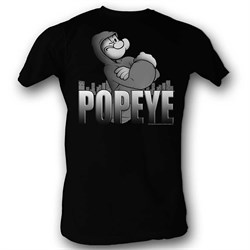 Image of Popeye Shirt In His Hoodie Black T-Shirt