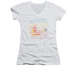 Popeye Shirt Juniors V Neck Soccer White Tee T-shirt