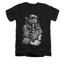 Popeye Shirt Mine All Mine Slim Fit V Neck Black Tee T-Shirt