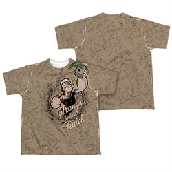 Image of Popeye Strongs To The Finch Sublimation Kids Shirt Front/Back Print