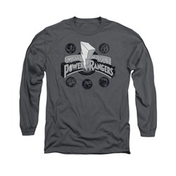 Image of Power Rangers Shirt Power Coins Long Sleeve Charcoal Tee T-Shirt