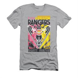 Power Rangers Shirt Slim Fit Pink And Yellow Ranger Silver T-Shirt