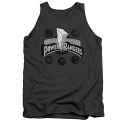 Image of Power Rangers Shirt Tank Top Power Coins Charcoal Tanktop