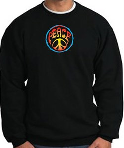 Image of PSYCHEDELIC PEACE World Peace Sign Symbol Adult Sweatshirt - Black