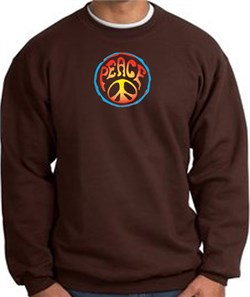 Image of PSYCHEDELIC PEACE World Peace Sign Symbol Adult Sweatshirt - Brown