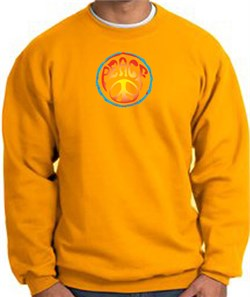 Image of PSYCHEDELIC PEACE World Peace Sign Symbol Adult Sweatshirt - Gold