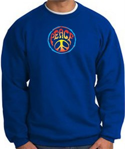Image of PSYCHEDELIC PEACE World Peace Sign Symbol Adult Sweatshirt - Royal