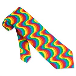 Image of Rainbow Swirl Multicolor Micro Tie Necktie ? Men?s Holiday Neck Tie