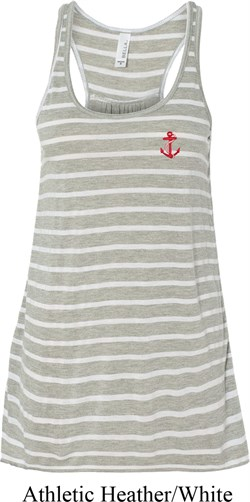 Image of Red Anchor Patch Pocket Print Ladies Flowy Racerback Tanktop