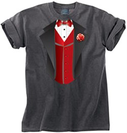 Tuxedo T-shirt Pigment Dyed With Red Vest - Smoke