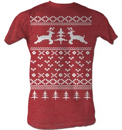 Reindeer T-Shirt? Sweater Shirt Christmas Holiday Adult Red T-Shirt