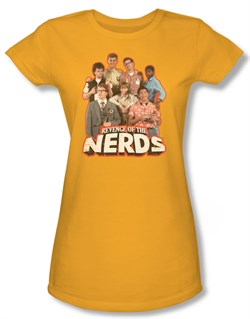 Revenge Of The Nerds Shirt Juniors Group Of Nerds Gold Tee T-Shirt