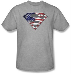 Superman T-shirt American Flag Shield Patriotic Superman Tee Shirt