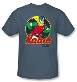 Batman T-Shirt - Robin The Boy Wonder Adult Slate Blue Tee
