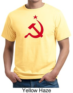 Image of Russian Shirt Hammer and Sickle Red Print Adult Organic T-shirt