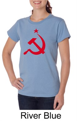 Image of Russian Shirt Hammer and Sickle Red Print Ladies Organic T-shirt