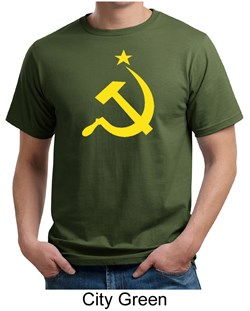Image of Russian Shirt Hammer and Sickle USSR Adult Organic T-shirt