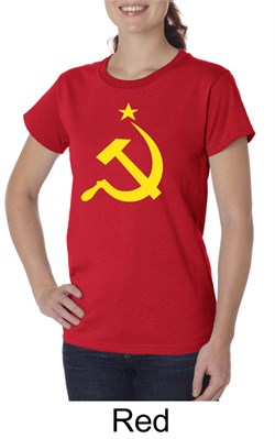 Image of Russian Shirt Hammer and Sickle USSR Ladies Organic T-shirt