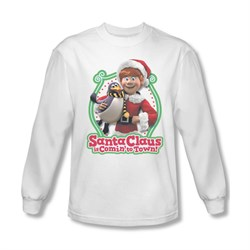 Image of Santa Clause Shirt Penguin Pal Long Sleeve White Tee T-Shirt
