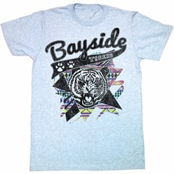 Image of Saved By The Bell Shirt Aztec Tigers Adult Blue Heather Tee T-Shirt