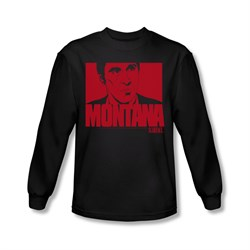 Image of Scarface Shirt Montana Face Long Sleeve Black Tee T-Shirt