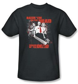 Image of Shaun Of The Dead T-shirt Movie Bash Em Adult Charcoal Tee Shirt