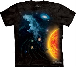 Image of Solar System Shirt Tie Dye Earth Sun Planets T-shirt Adult Tee