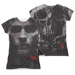 Image of Sons Of Anarchy SOA Jax Skull Sublimation Juniors Shirt Front/Back Print