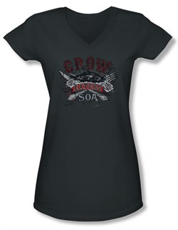 Image of Sons Of Anarchy SOA Juniors V Neck Shirt Eat Moe Crow Charcoal Tee T-Shirt
