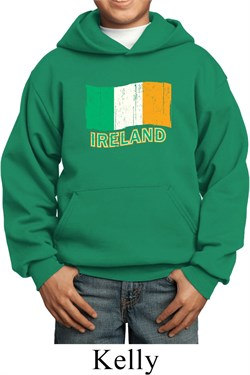 Image of St Patrick's Day Distressed Ireland Flag Kids Hoody