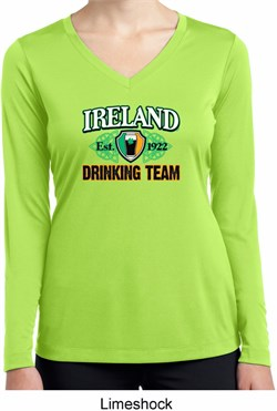 Image of St Patrick's Day Ireland Drinking Team Ladies Dry Wicking Long Sleeve