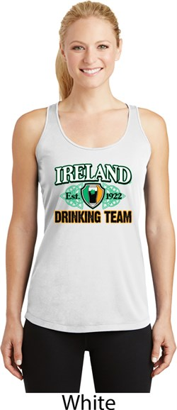 Image of St Patrick's Day Ireland Drinking Team Ladies Dry Wicking Racerback