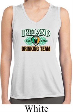 Image of St Patrick's Day Ireland Drinking Team Ladies Sleeveless Dry Wicking