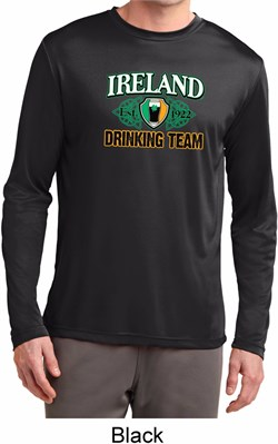 Image of St Patrick's Day Ireland Drinking Team Mens Dry Wicking Long Sleeve