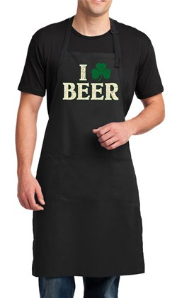 Image of St Patricks Day Mens Apron I Love Beer Full Length Apron with Pockets