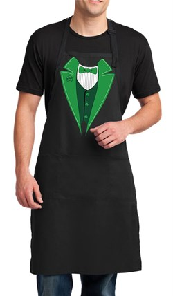 Image of St Patricks Day Mens Apron Irish Tuxedo Full Length Apron with Pockets