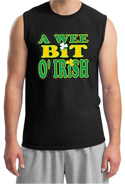 St Patricks Day Mens Shirt A Wee Bit Irish Shamrock Muscle Tee T-Shirt