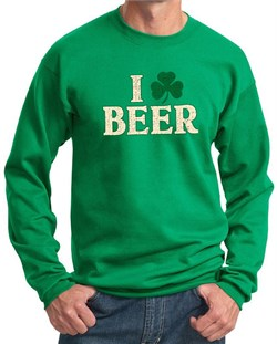 Image of St Patricks Day Mens Sweatshirt I Love Beer Sweat Shirt