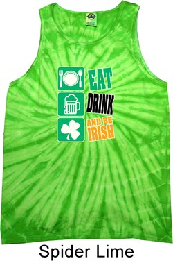 St Patricks Day Tanktop Eat Drink Be Irish Tie Dye Tank Top