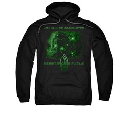 Image of Star Trek - The Next Generation Hoodie Sweatshirt Assimilate Black Adult Hoody Sweat Shirt