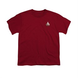 Image of Star Trek - The Next Generation Shirt Kids TNG Command Emblem Cardinal Red Youth Tee T-Shirt