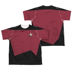 Image of Star Trek - The Next Generation Voyager Command Uniform Sublimation Kids Shirt Front/Back Print