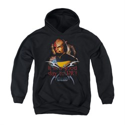 Image of Star Trek - The Next Generation Youth Hoodie Good Day To Die Black Kids Hoody