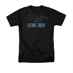 Image of Star Trek - The Original Series Shirt Enterprise Outline Adult Black Tee T-Shirt