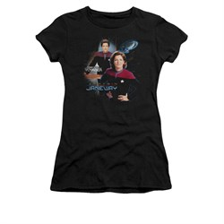 Star Trek - Voyager Shirt Juniors Captain Janeway Black Tee T-Shirt