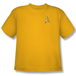 Image of Star Trek Kids Shirt Command Uniform Gold Youth Tee T-Shirt