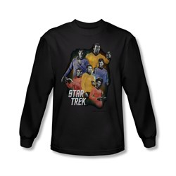 Image of Star Trek Shirt Galaxy Glow Long Sleeve Black Tee T-Shirt