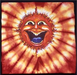 Image of Sun Face New Age Red Sun Solar Adult Unisex Tie Dye T-Shirt Tee Shirt