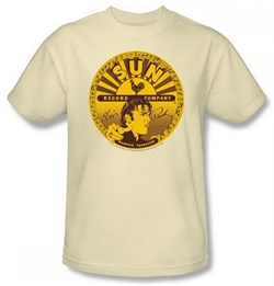 Elvis T-shirt - Sun Records Elvis Full Sun Label - Cream Color