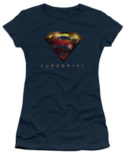 Supergirl Juniors Shirt Logo Glare Navy Blue T-Shirt